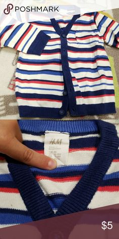 H&M child cardigan 5 button down, multi color including red, white, navy blue and sky blue H&M Shirts & Tops Sweatshirts & Hoodies