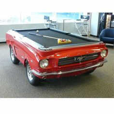 1965 Mustang Pool Table at Brookstone—Buy Now! from Brookstone. Saved to Things I want as gifts.
