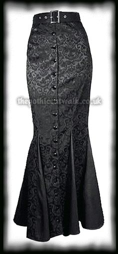 Plus Size Long Black Damask Fitted Skirt from The Gothic Catwalk A