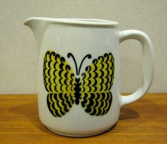 Items similar to Birger Kaipiainen Arabia PERHO Butterfly Pitcher - Kaj Franck Mid Century Modern Milk Jug Finland on Etsy