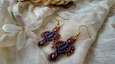 #macrame #earrings #purple #blue #brass #beads #handmade #jewelry #colorful #tribal Www.narkismacrame.etsy.com