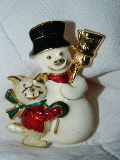 Vintage Frosty the Snowman Pin Brooch Christmas by TheIDconnection, $10.00