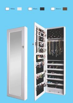 BTEXPERT® Premium Wooden Jewelry Armoire Cabinet Wall mount Over the Door Hanger Safe Locking Organizer Storage box case Cheval Mirror Store Rings, Holder, Necklaces, Bracelets, Earrings Organizer, Key Lock for Added Safety, Security- White