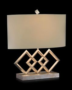 Limited Production Design & Stock:  Artistic 3 Diamond Profile Lamp * Antique Silver Leaf Detail * Cream Linen Silk Lined Oval Shade * 150 Watts A Bulb * H: 21  inches * Partner Table Lamps Available