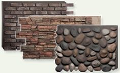 Skirting options ~ Fake rock made from molds of the real thing looks authentic while polyurethane construction makes it easy to maintain