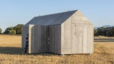 Abaton Architecture: Prefab house, solid timber skeleton with cement wood board facade Prefab Cabins, Prefabricated Houses, Spanish Architecture, Architecture Design, L'architecture Espagnole, Maison Transportable, Studio Arthur Casas, Shelter Design, Modern Prefab Homes
