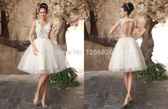 Find More Wedding Dresses Information about 2014 new a line knee length appliques v neck spaghetti straps sleeveless backless tulle short wedding dress vestido de noiva,High Quality dress wedding,China wedding dress ballerina Suppliers, Cheap wedding dress monique from Sao Tome Garments Co., Ltd. on Aliexpress.com