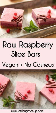 raw raspberry slice bars! Vegan, super easy to make + no cashews needed!