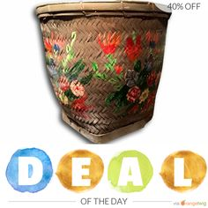 Today Only! 40% OFF this item. Follow us on Pinterest to be the first to see our exciting Daily Deals. Today's Product: Sale -  Huge Hand Painted Bamboo Basket Olive Green Storage Fireplace Decor Buy now: https://orangetwig.com/shops/AABdT38/campaigns/AACmnzZ?cb=2016006&sn=Heathertique&ch=pin&crid=AACmnnv&exid=241048622&utm_source=Pinterest&utm_medium=Orangetwig_Marketing&utm_campaign=05-02-16   #vintagefurnitureonline #homedecor
