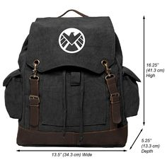 Agents of Shield Logo Canvas Rucksack Backpack with Leather Straps ** Check out this great image  : Day backpacks