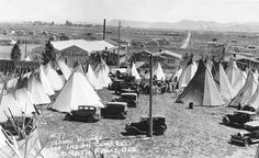 Amerindian Village erected for the 1929 Indian Congress in Klamath Falls, Oregon (I wish they would say which Indian Nation)  Photo from Oregon State University Special Collections & Archives