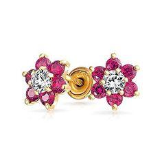 Bling Jewelry 14k Gold Flower Safety Screw back Earrings Baby Studs (FREE SHIP) #BlingJewelry