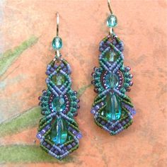 Beaded Macrame Earrings Micro Macrame Beadwork by glassdancer