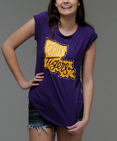 Look at this LSU Tigers Baseball-Hem Tee - Women on #zulily today!