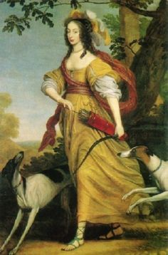 1640 Willem van Honthorst (Dutch artist, 1594-1666) Henriette von Nassau as Diana.  She has dogs & a bow & quiver with feathers in her hair.