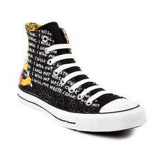 Shop for Converse All Star Hi Bart Athletic Shoe in Black White at Journeys Shoes. Shop today for the hottest brands in mens shoes and womens shoes at Journeys.com.Converse and The Simpsons double team detention! Bart Simpson edition All Star Hi featuring allover graphics and chalkboard text. Canvas upper, rubber outsole. Chuck Taylor meets chalk Taylor. Available exclusively at Journeys!Please note that this shoe runs a half size large.