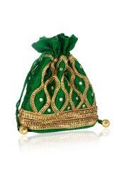GREEN GLAMOUR POTLI BAG