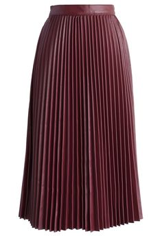 Red Wine Pleated Faux Leather Midi Skirt | #USTrendy  www.ustrendy.com