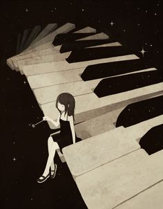 anime girl on piano. I love this so much. It looks magical. :)