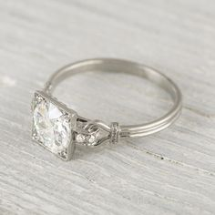 Vintage 1.57 Carat Art Deco Engagement Ring by ErstwhileJewelry, $20000.00
