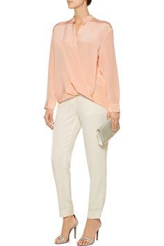 3.1 Phillip LimWrap-effect silk crepe de chine blouse front