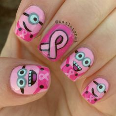 Minions for breast cancer awareness! Follow me on instagram @Nailstorming and hashtag #nailstormed if you recreate! #breastcancerawareness #minions #minionnails #nailart #nails