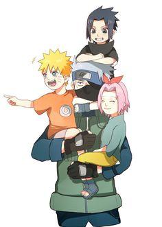 Team 7 :D Hatake Kakashi,Uzumaki Naruto,Haruno Sakura and Uchiha Sasuke Naruto Shippuden Sasuke, Naruto And Sasuke, Manga Naruto, Kakashi Sensei, Naruto Cute, Naruto Kakashi Funny, Kakashi Hatake Face, Naruto Team 7, Naruto Family