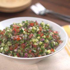 cucumber mediterarrian salad  cucumber, tomato, red onion, parsley, mint, lemon juice, olive oil, salt