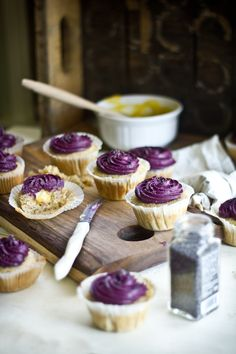 Lemon Poppy Seed Cupcakes with Lemon Curd Filling & Blueberry Cream Cheese Frosting.
