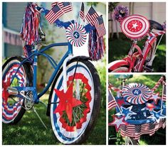 Martha's free printables and terrific decorating ideas for a 4th of July summer bike parade.