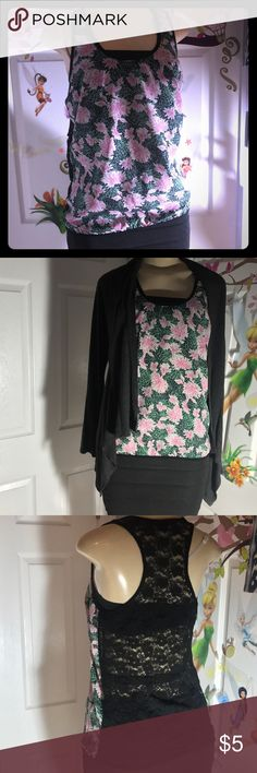 XXI+Ambience Apparal:|Lace Tank Top+Cardigan.LARGE BRANDS:XXI+Ambience Apparel. Floral Lace Tank Top.XXI. COLOR:PINK,BLACK,GREEN. Long Sleeve Cardigan. COLOR:GRAY. Minor signs of normal wear. Overall Good Condition. Minor pilling and signs of wear on fabric material. LISTING is for (2) items. SIZE:LARGE. Forever 21 Tops Tees - Long Sleeve