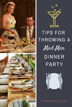 Tips for Throwing a Mad Men Style Retro Dinner PartyYou can find Mad men and more on our website.Tips for Throwing a Mad Men Style Retro Dinner Party Dinner Themes, Party Themes, Dinner Parties, Dinner Club, Cocktail Parties, Ideas Party, 1960s Party, Retro Party, Mad Men Party