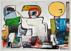 Eddie Martinez Figure Painting, Painting & Drawing, Abstract Expressionism, Abstract Art, Abstract Paintings, Eddie Martinez, Spray Paint On Canvas, Mid Century Modern Art, Outsider Art