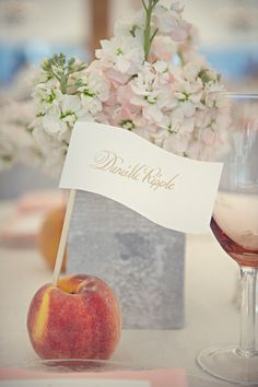 a peach filled wedding complete with peach name cards  Photography by lisaberryphotography.com, Photography by carlateneyck.com, Event Design by http://eventjubilee.com/