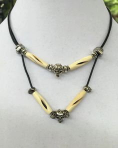 Handmade-Tribal-Skull-Carved Bovine Bone-hexnut-Black Leather Cord-Choker-Necklace 2-tiered by WishboneJewelryCraft on Etsy