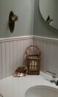 Use old door knob from an antique store and use it as a towel hook. What a great idea!