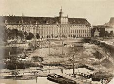 Lata 1867-1868 , Budowa mostów Uniwersyteckich. Z prawej Most Krótki i fragment Mostu Długiego.