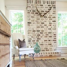 Take the latest images of brick fireplace makeover on this website. brick fireplace makeover images are posted by our team on July 2018 . Fireplace Redo, Fireplace Remodel, Fireplace Ideas, Fireplace Brick, Fireplace Makeovers, Fireplace Whitewash, Brick Hearth, White Fireplace, Farmhouse Fireplace