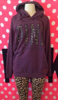 Victoria's Secret Pink Leopard Cheetah Boyfriend Sweater Hoodie Large | eBay