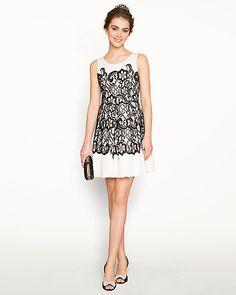 Lace & Scuba Scoop Neck Combo Dress