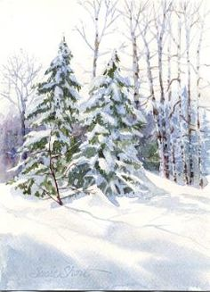 Heavy Snow on Evergreens WatercolorTips/Techniques - by Susie Short