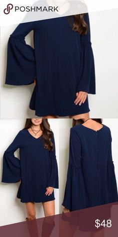 Navy Bell Sleeves Dress Such a beautiful and casual dress! Pair with your favorite. Boots or booties for a perfect fall look! 💯 polyester. Fast shipping. Firm Price unless bundles. Thank you for shopping and supporting my closet! Xoxo Dresses Long Sleeve