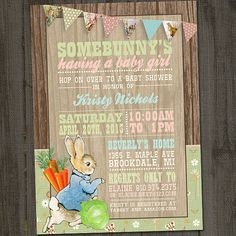 Peter Cottontail, Peter Rabbit Vintage Printable Baby Shower Party Invitation on Etsy, $15.00