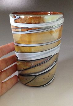 Handmade blown drinking glass cup tumbler by HorkoverGlass on Etsy, $32.00