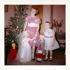Vintage Christmas Photograph ~ Girls in Pink with their Christmas dolls! Circa 1961