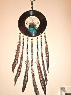 ON SALE $25.00 Boho Dream Catcher, 45 RPM, Feathers, Carved Bone, Teenager