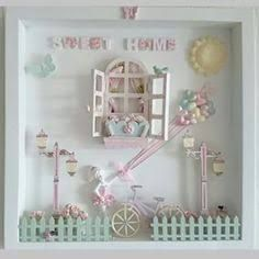 Nice new home gift. Box Frame Art, Box Frames, Picture Boxes, Picture Frames, Vitrine Miniature, Baby Frame, Frame Crafts, Room Accessories, Miniature Furniture