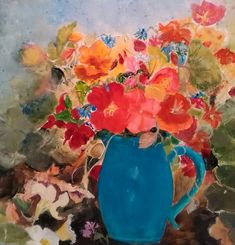 Nasturtiums in turquoise by Jennifer Manson - Win vouchers worth from Winsor & Newton in our Calendar Challenge - February 2020 Competition, February, Palette, Challenges, Turquoise, Colour, Artist, Color