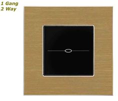 GLSTouch Designer Gold & Black Brushed Aluminium Touch Light Switch (On/Off) 1 Gang 2 Way
