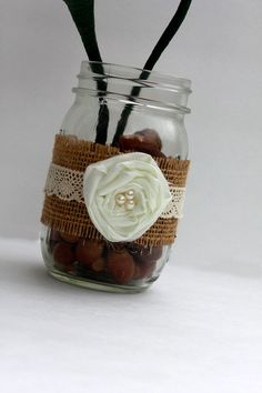 Burlap Mason Jars, @Nova Phillips this would be a cute center piece stuffed with flowers